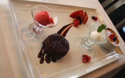 Dessert tray with chocolate, creme brûlée and sorbet