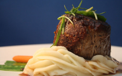Filet mignon over mashed potatoes