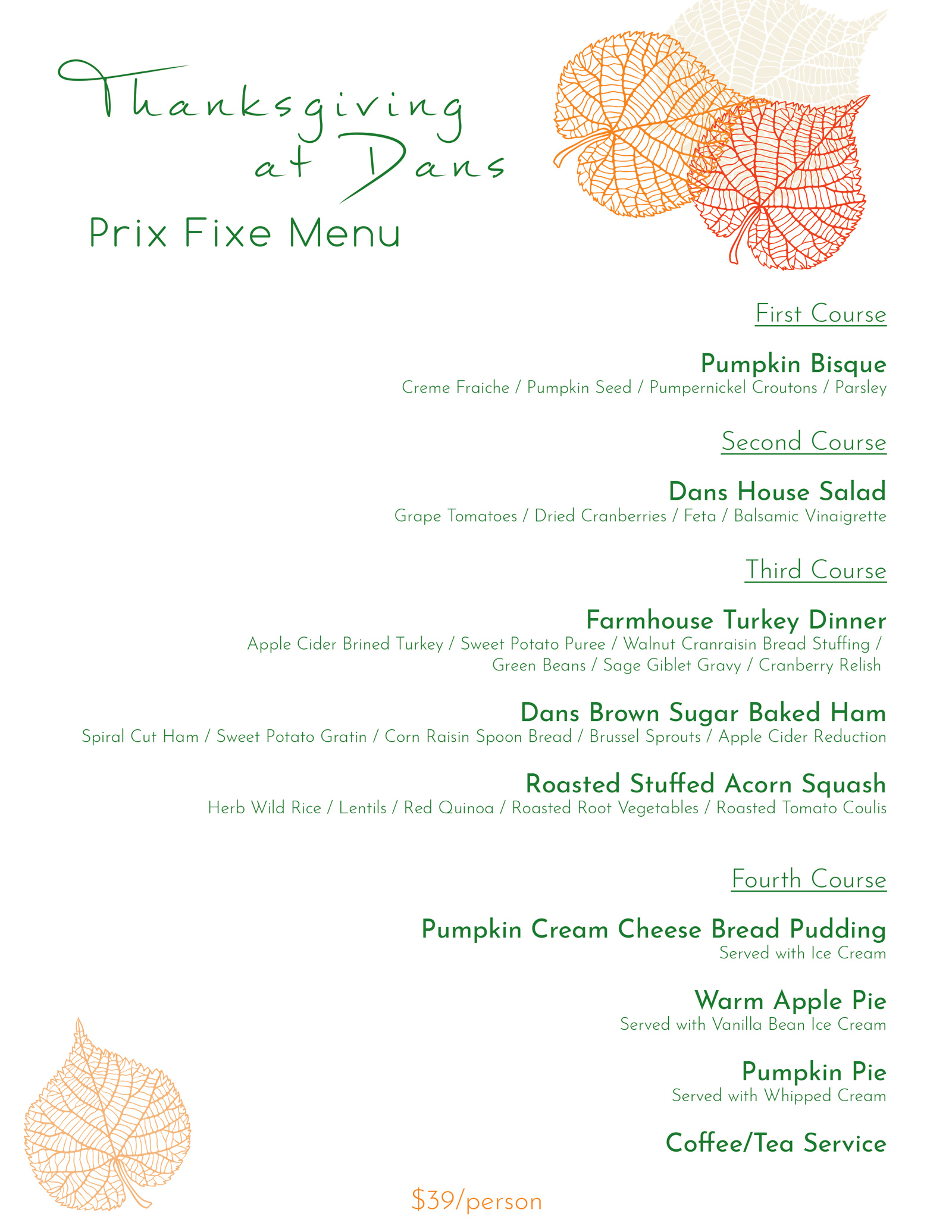 Thanksgiving prix fixe menu 2018